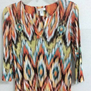 Chicos Womens Top Orange Blue Diamond shirt